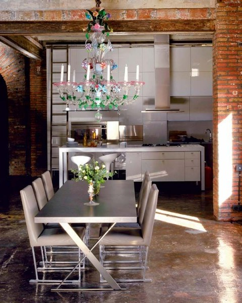 10 Ways To Light Your Kitchen To Achieve The Right Look & Ambience - Kitsch Chandelier In Modern Designer Apartment