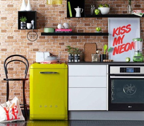 Funky Kitchen Appliances to Brighten Up Your Kitchen - Neon Smeg Dishwasher