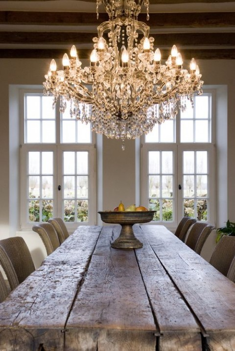 Lighting Tips From The Experts - Chandelier In Dinning Room With Rustic Table