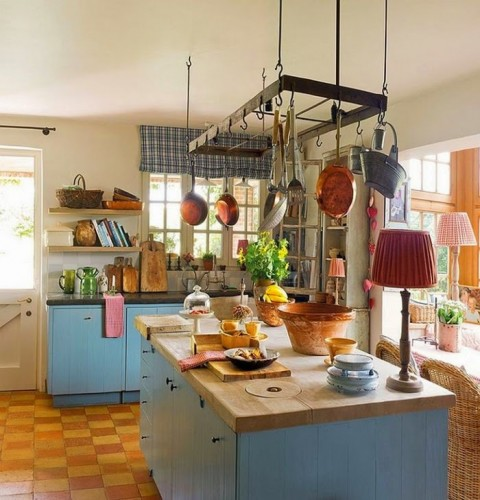10 Ways To Light Your Kitchen To Achieve The Right Look & Ambience - Farm House Kitchen With Table Lamp