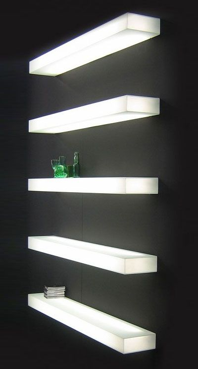10 Ways To Light Your Kitchen To Achieve The Right Look & Ambience - Italian Designer Illuminated Wall Mounted Shelf