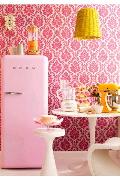 Funky Kitchen Appliances To Brighten Up Your Kitchen - Yellow Mixer  Pink Smeg Fridge