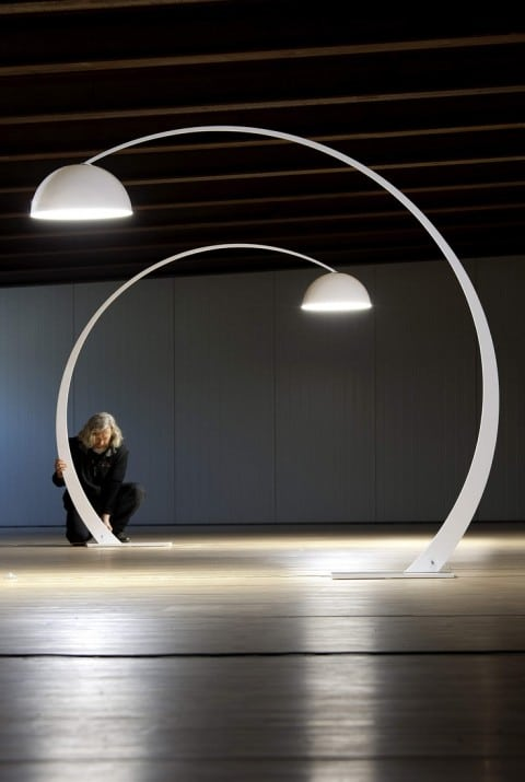 10 Designer Floor Lamps - Curved White-Painted Metal Floor Light By Franco Zavarise