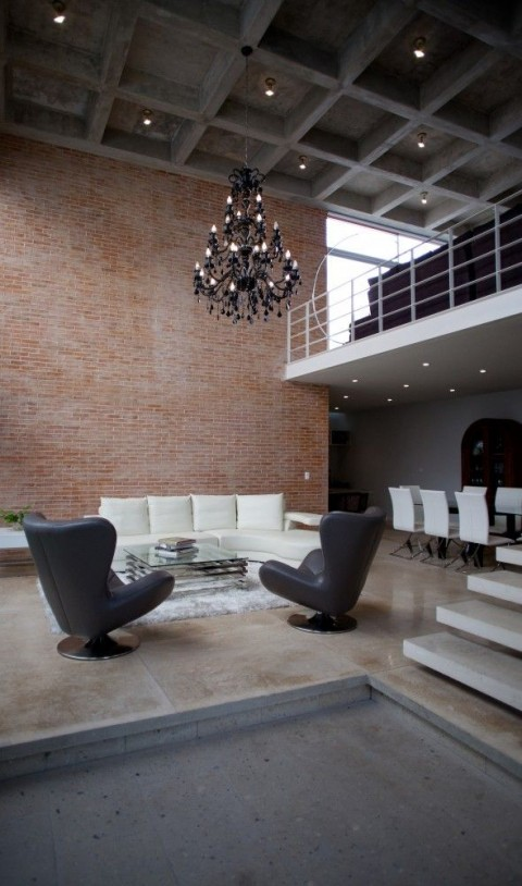 Modern Lounge With Black Chandelier