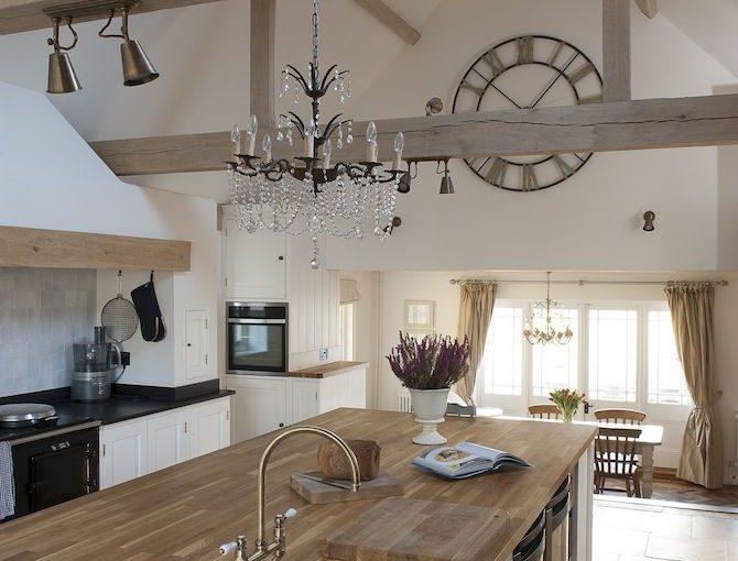 10 Ways To Light Your Kitchen To Achieve The Right Look & Ambience - Country Kitchen Diner With Chandelier Lighting