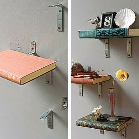3 Upcycling Projects You Can Start Today - Book Shelves Made Of Books.