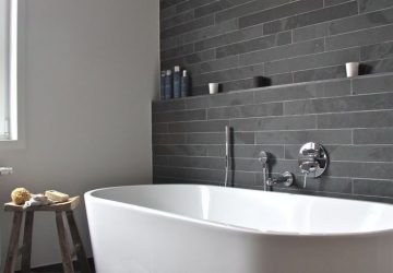 Transform Your Bathroom Into A Luxury Space In 5 Easy Steps - White Free Standing Bath, Grey Slated Walls & Wooden Stool.