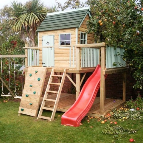 10 Fun Garden Toys - Play House With Climbing Wall, Slide & Swings.