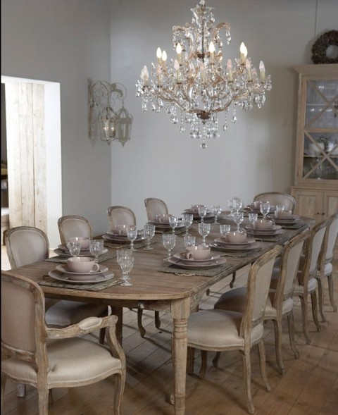 10 Stunning Dining Room Designs To Inspire You In Time For Christmas - French Inspired Shabby Chic Long Table