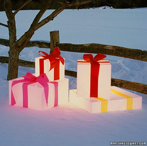 evamp Your Outdoor Lighting This Winter - Glowing Gift Boxes By Martha Stewart - Image By Matthew Hranek