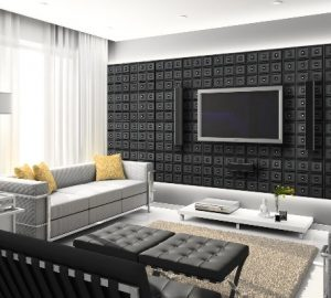 How To Use Ceiling Tiles To Decorate Your Living Room - Feature Wall