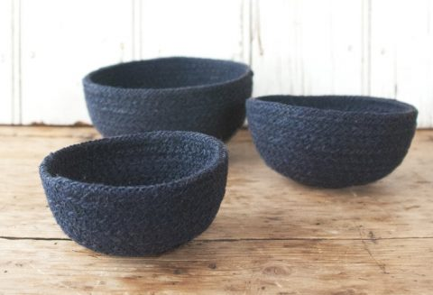 Inidgo baskets made from jute
