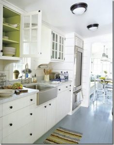How To Modernise Your Kitchen Without Completely - Grey Painted Floorboards From ThingsThatInspireMe.net