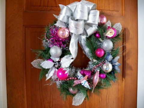 Vintage pink and silver wreath