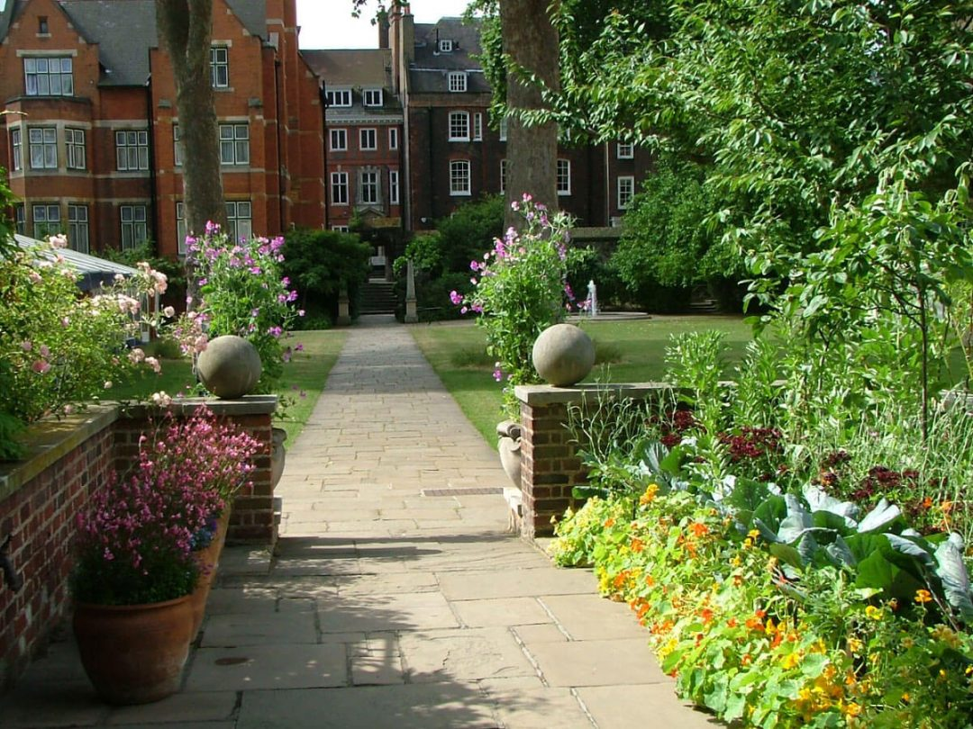 Entrance to College Garden, with vegetable patch