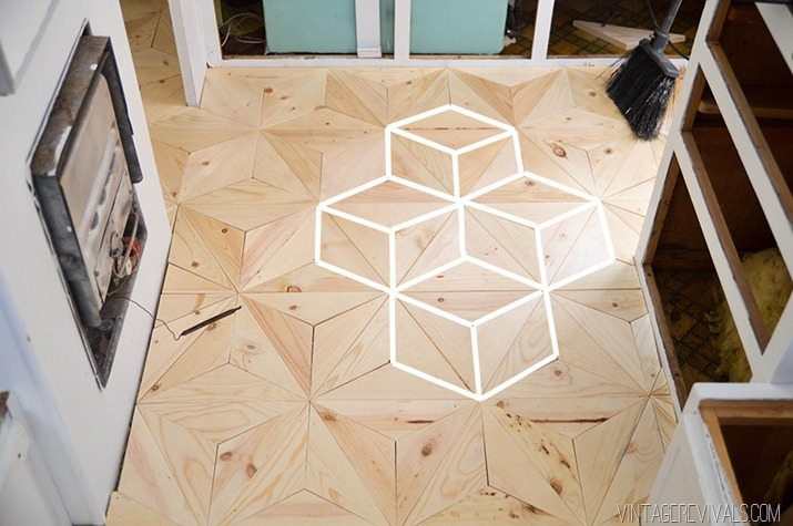 Geometric wooden floor tile design
