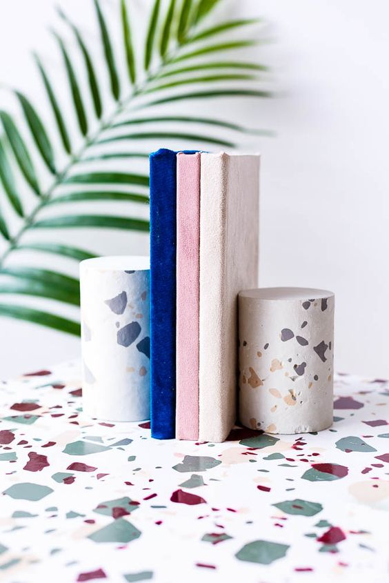 DIY Terrazzo Concrete Book Ends | By Fall For DIY