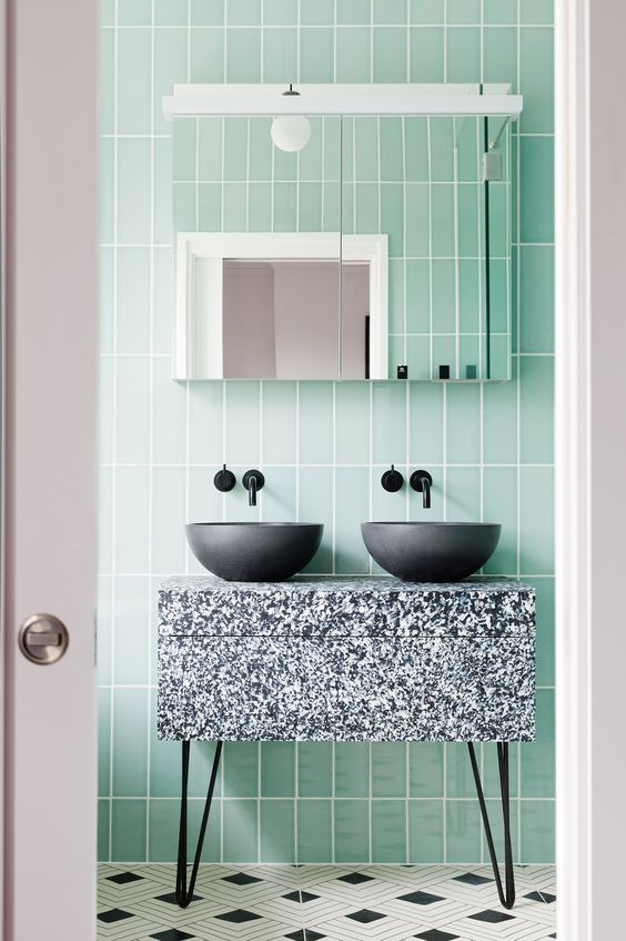 Terrazzo and mint green bathroom  By 2LG Studio