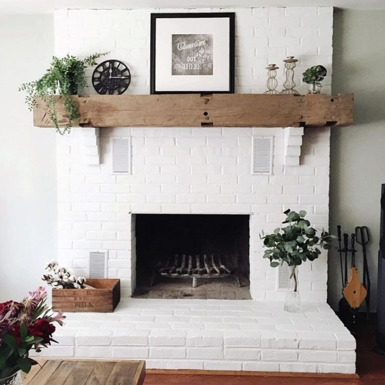 Decorating A Small Starter Home: Top Tips - Via Instagram - By laurenfair - White Painted Fireplace