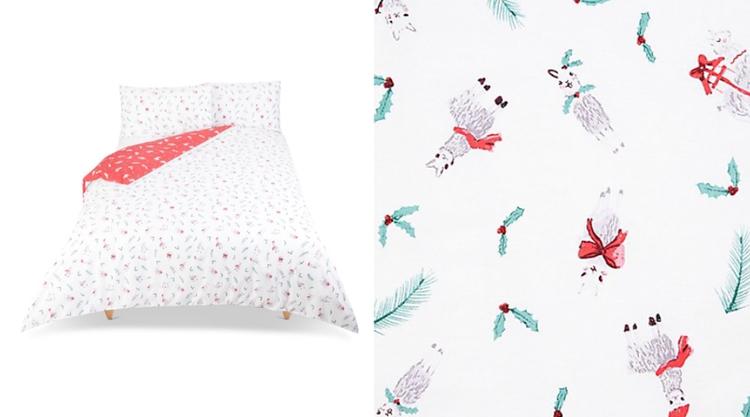 Festive llama print bedding
