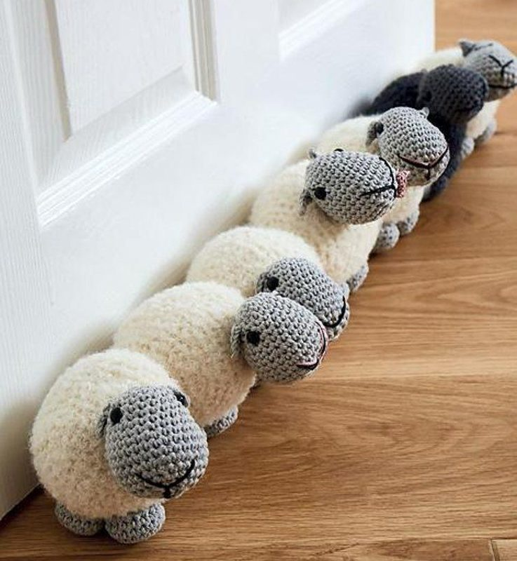 How To Create A Warm And Cosy Home - Sheep Draught Excluder By Liz Ward - Image From Ravelry.com