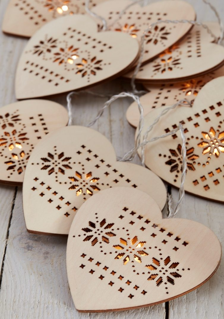 Wooden heart lights
