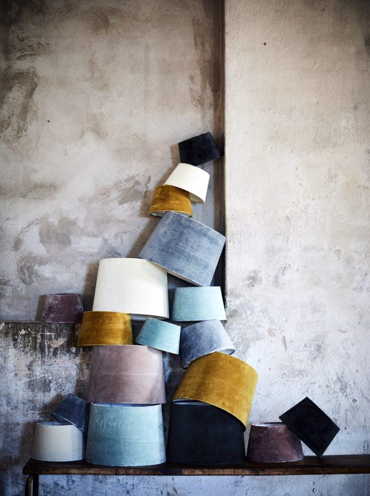 Velvet pastel lamp shades