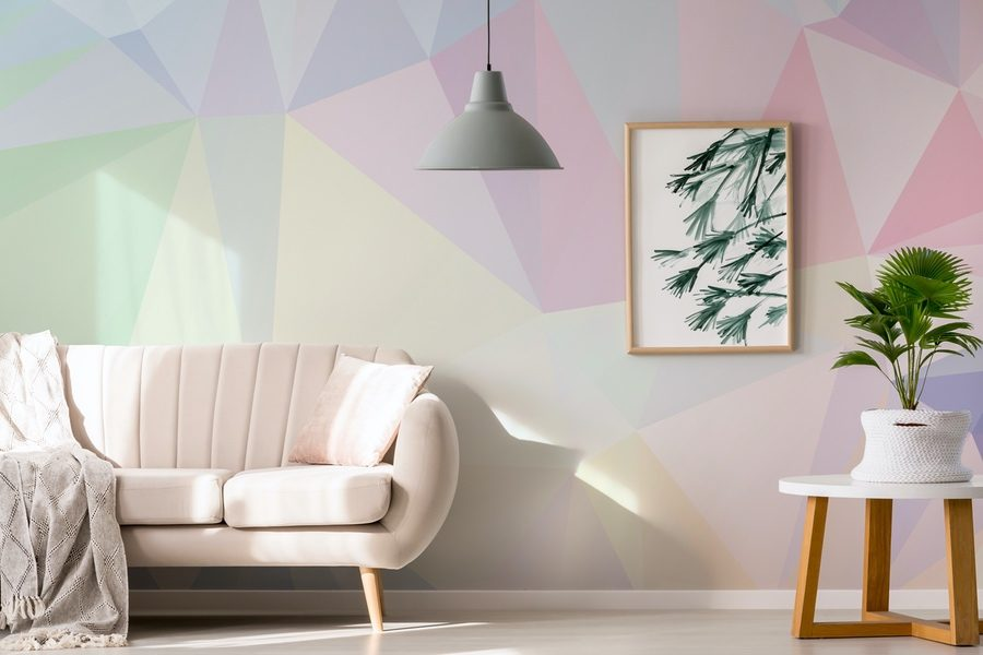 Muted pastel wall mural