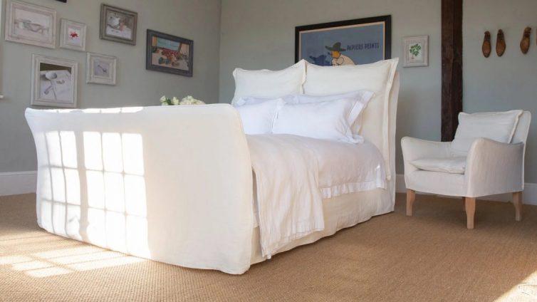 Natural Furniture Linen Song Super King Bed- Image Via MakerAndSon.com