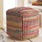 Recycled Fabric & Cotton Pouffe - Ethical Superstore