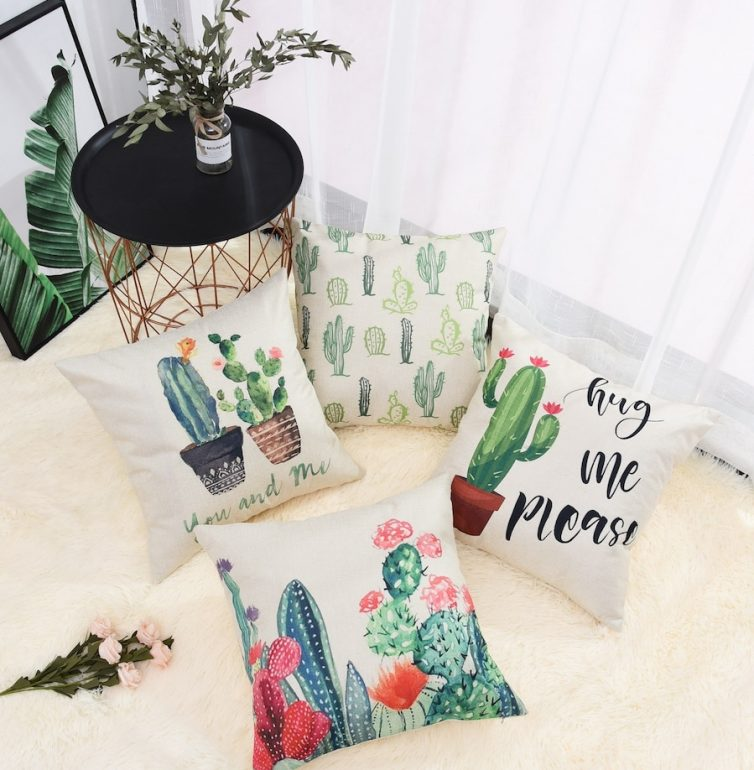 Cactus Print Cushions - Image Vai Shein.co.uk