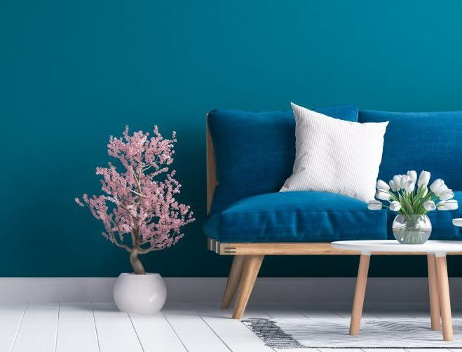 Living Room, Blue Sofa, Blue Painted Walls