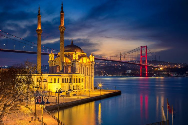 Istanbul. Image of Ortakoy Mosque with Bosphorus Bridge in Istanbul during twilight blue hour.