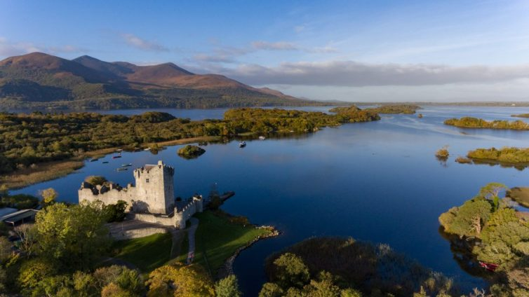Ancient Castle in Killarney National Park during early morning, Ring of Kerry, Ireland