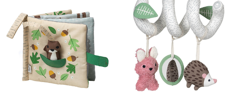 SO HUNGRY – SQUIRREL ORGANIC FABRIC BOOK and LERKE LIGHT ACTIVITY TOY Image And Product By Franck-Fischer.com