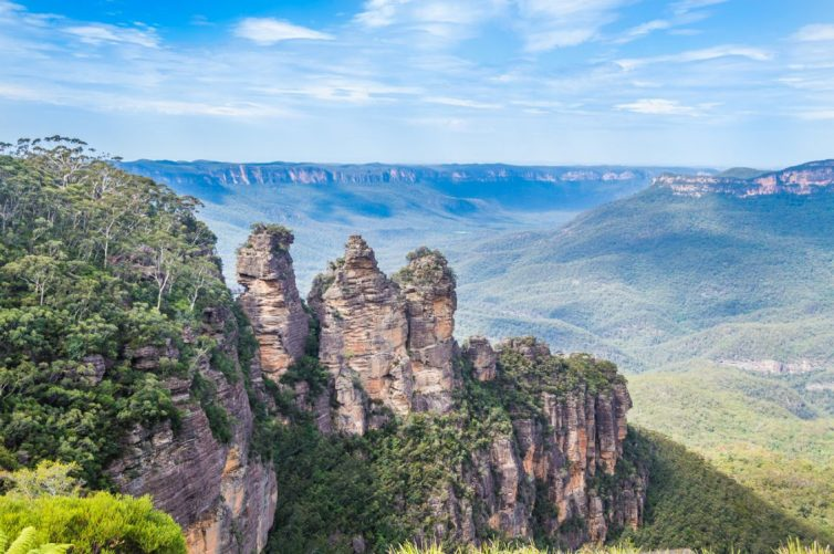 The three sisters rock formation in the Blue Mountains, near Sydney Australia