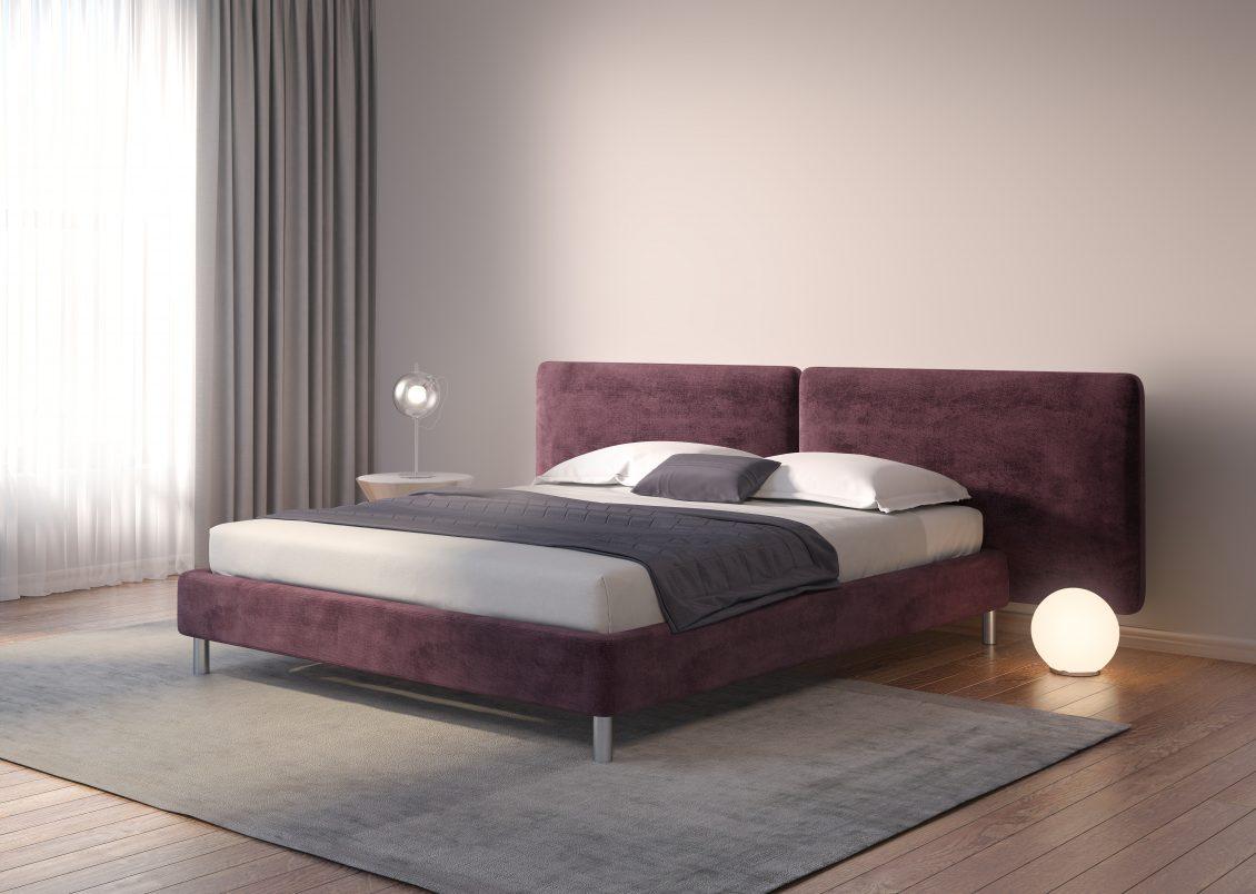Plum velvet Bed