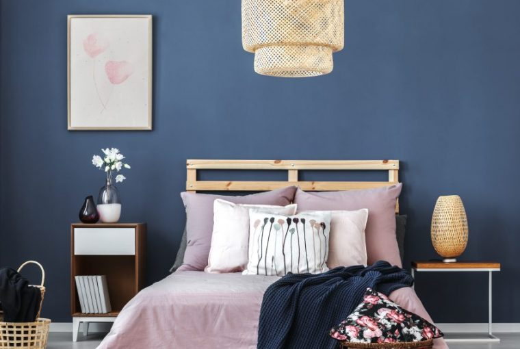 Bedroom painted with Pantone Colour of the year 2020 Classic Blue