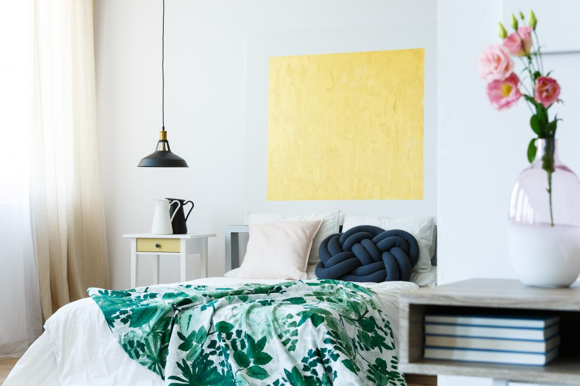 Bedroom abstract yellow picture