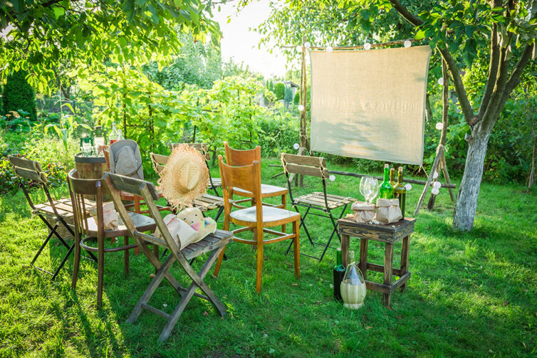 Open-air cinema with drinks and popcorn in the evening