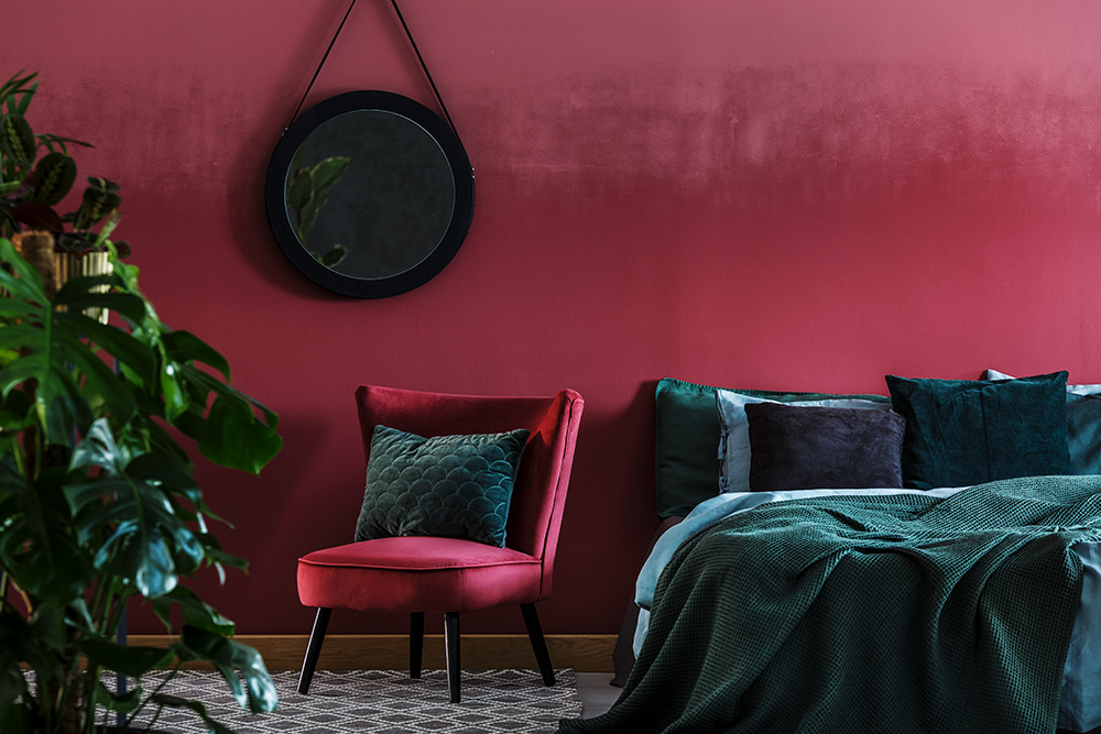 Red painted Bedroom