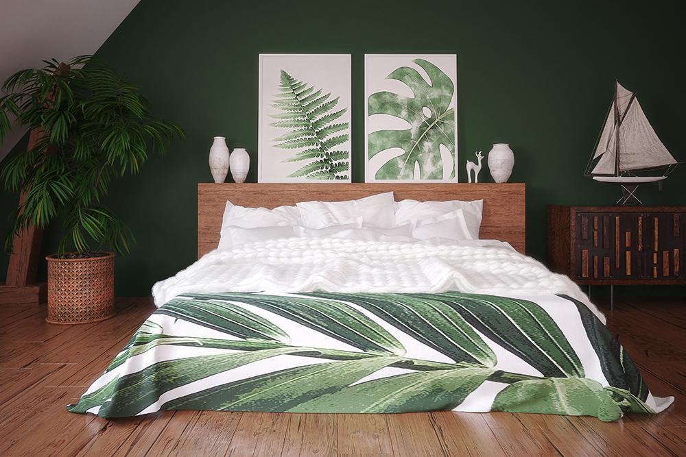 Green Painted Bedroom