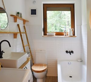 Small white and wooden bathroom