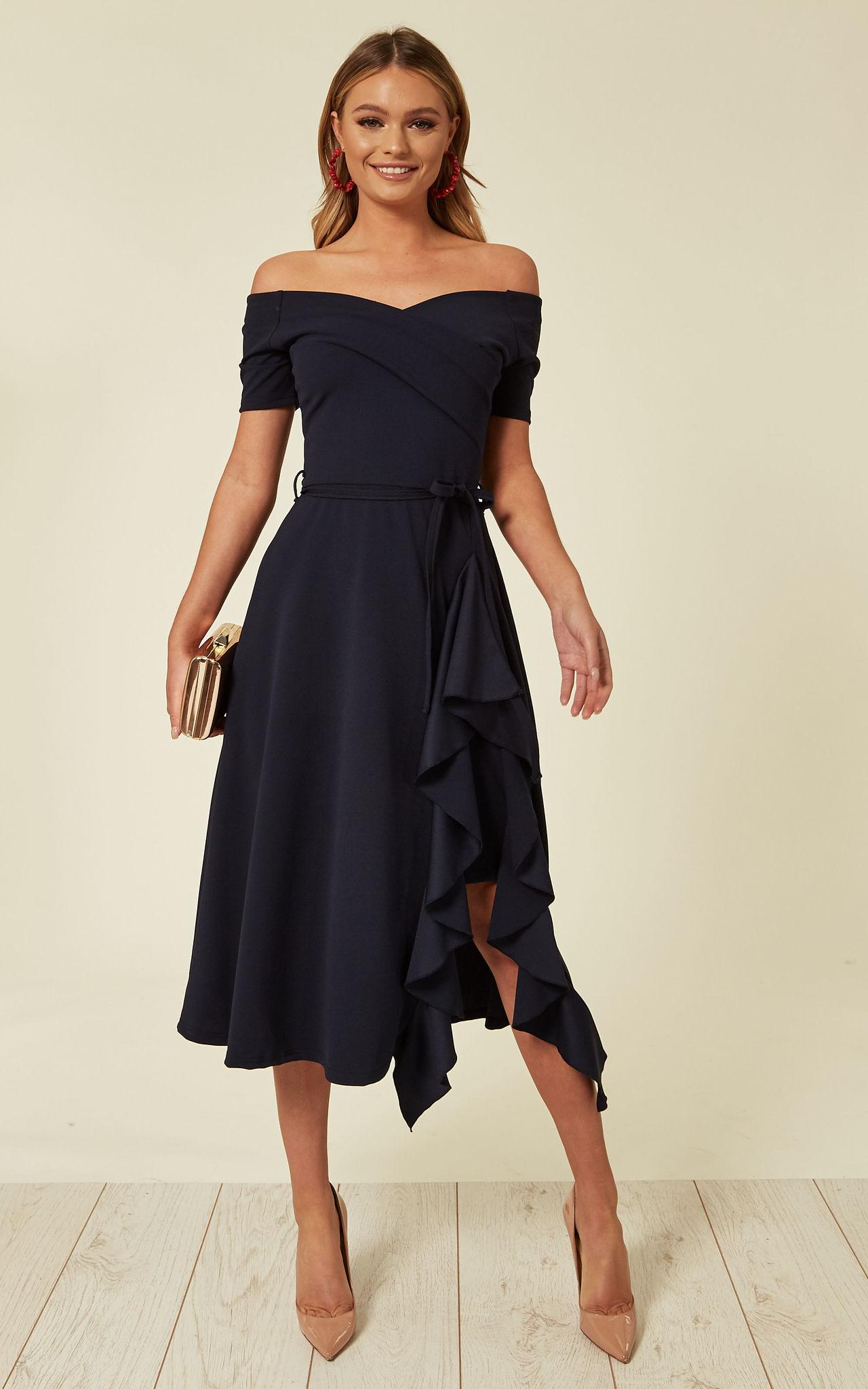 Exclusive Bardot Off Shoulder Frill Midi Dress Navy - Image Via SilkFred.com