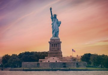 Statue of Liberty with sunset USA