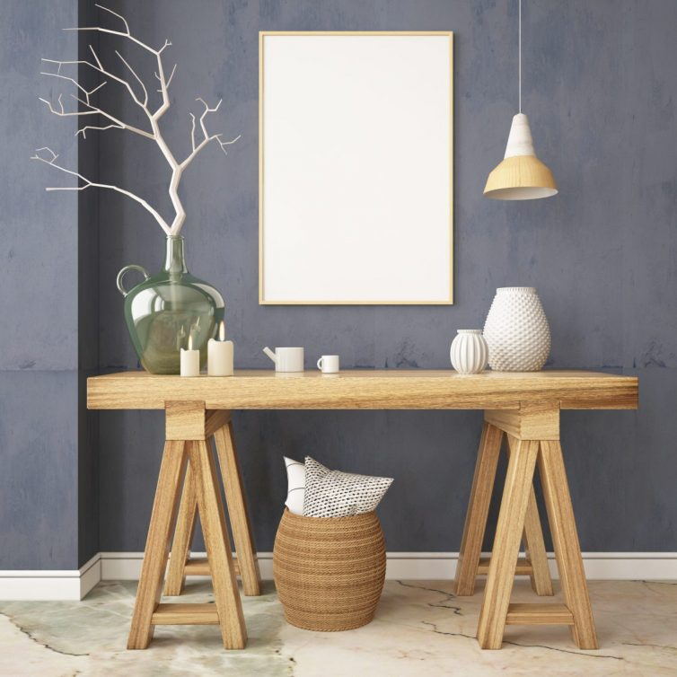 Scandinavian interior with a console table in lagom style