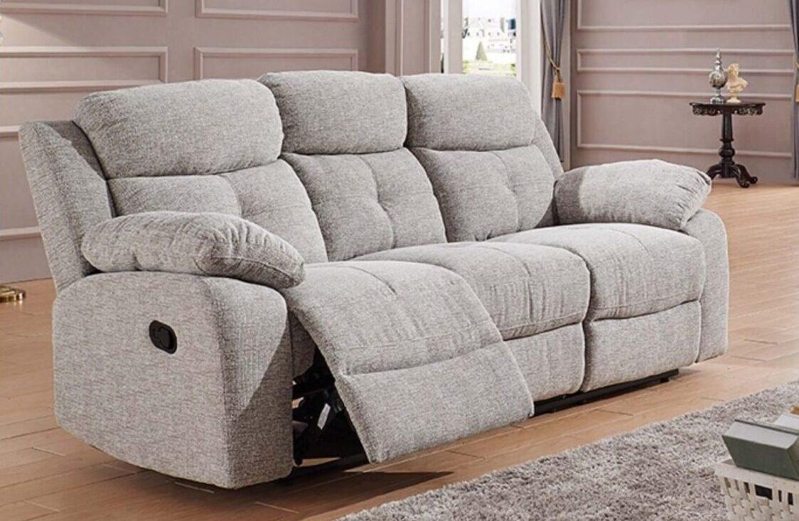 Florida Silver Grey Fabric Recliner Sofa Collection