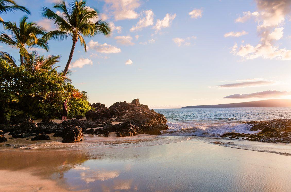 Sunset view of beautiful tropical beach, Secret Wedding Beach, Makena Cove, Maui, Hawai