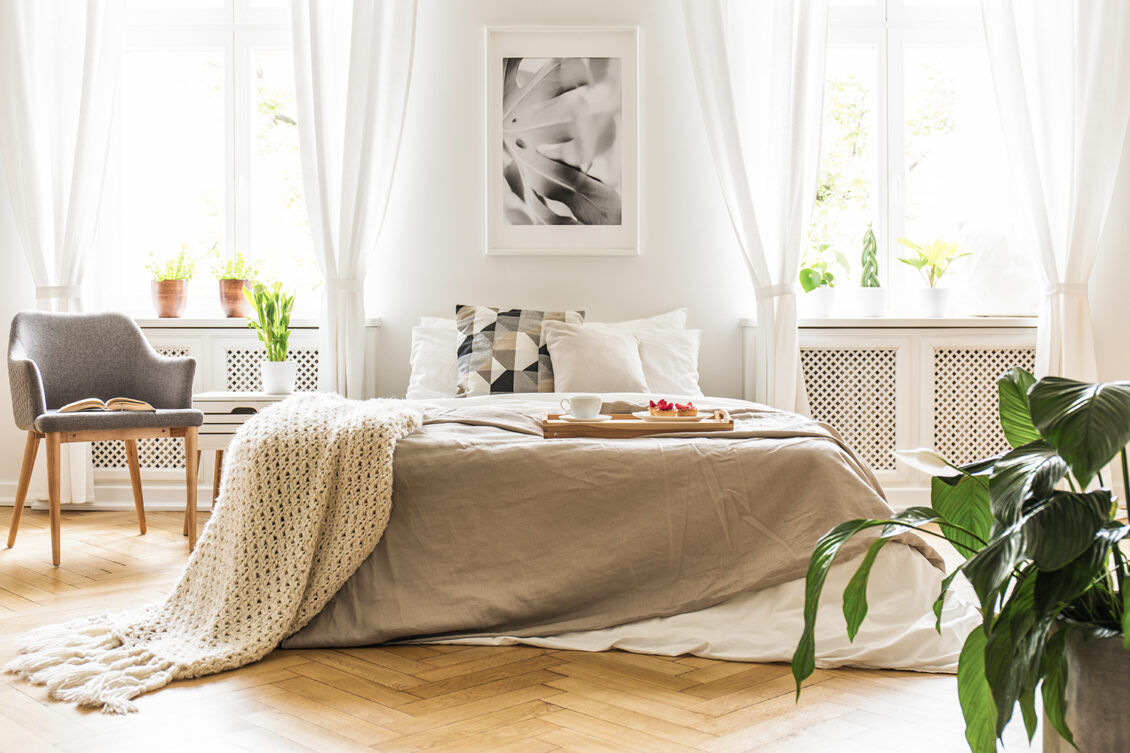 White bedroom with natural light from windows. Plant in bedroom.