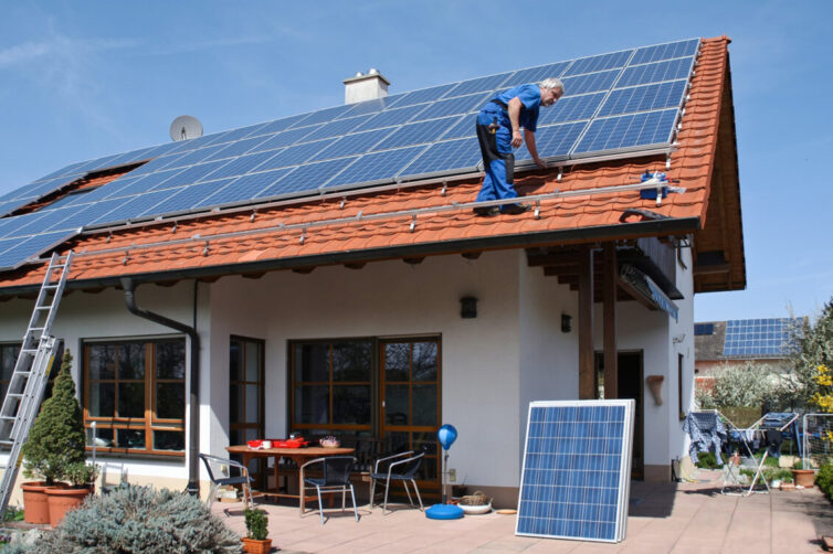Home with sola panels on roof